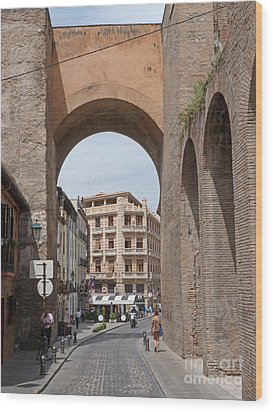 Granada Old City Gateway Wood Print by Phil Banks