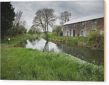 Grand Canal At Miltown Wood Print by Ian Middleton