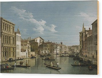 Grand Canal From Palazzo Flangini To Palazzo Bembo Wood Print by Canaletto