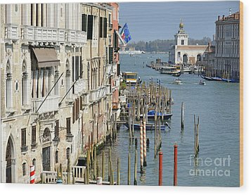Grand Canal View From Academia Bridge Wood Print by Sami Sarkis