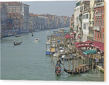 Grand Canal Viewed From Rialto Bridge Wood Print by Sami Sarkis