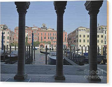 Grand Canal Viewed Through Columns Wood Print by Sami Sarkis