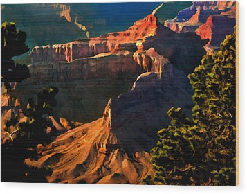 Grand Canyon At Sunset Wood Print by Bob and Nadine Johnston