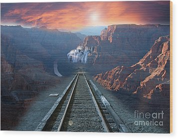 Wood Print featuring the photograph Grand Canyon Collage by Gunter Nezhoda
