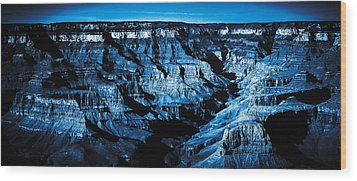 Grand Canyon In Blue Wood Print by Bartz Johnson