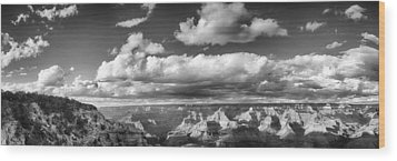 Wood Print featuring the photograph Grand Canyon Mather Point In Black  And White by Lisa  Spencer