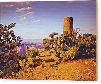 Wood Print featuring the painting Grand Canyon National Park Golden Hour Watchtower by Bob and Nadine Johnston