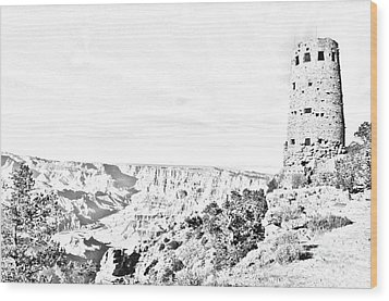 Grand Canyon National Park Mary Colter Designed Desert View Watchtower Black And White Line Art Wood Print by Shawn O'Brien