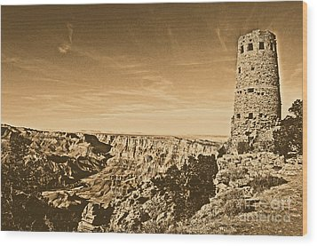 Grand Canyon National Park Mary Colter Designed Desert View Watchtower Rustic Wood Print by Shawn O'Brien