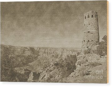 Grand Canyon National Park Mary Colter Designed Desert View Watchtower Vintage Wood Print by Shawn O'Brien