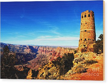 Grand Canyon National Park Mary Colter Designed Desert View Watchtower Vivid Wood Print by Shawn O'Brien
