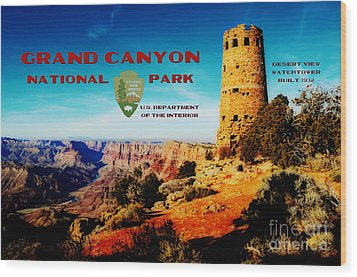 Grand Canyon National Park Poster Desert View Watchtower Retro Future Wood Print by Shawn O'Brien