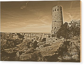Grand Canyon National Park South Rim Mary Colter Designed Desert View Watchtower Rustic Wood Print by Shawn O'Brien