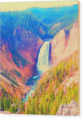 Grand Canyon Of The Yellowstone Wood Print by Ann Johndro-Collins