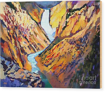 Grand Canyon Of The Yellowstone Wood Print by Bernard Marks
