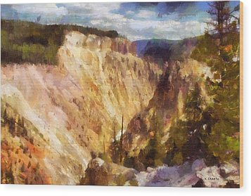 Wood Print featuring the painting Grand Canyon Of Yellowstone 2 by Kai Saarto