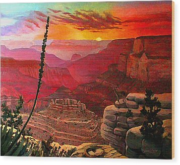 Grand Canyon Sunset Wood Print by Dan Terry