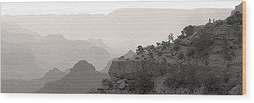 Grand Canyon Waking Up Bw Wood Print by Patrick Jacquet