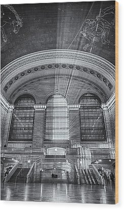 Grand Central Station Bw Wood Print by Susan Candelario