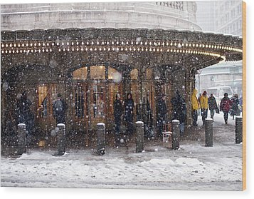 Grand Central Terminal Snow Color Wood Print by Dave Beckerman