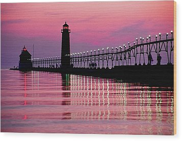 Grand Haven Light Wood Print by Dennis Cox WorldViews