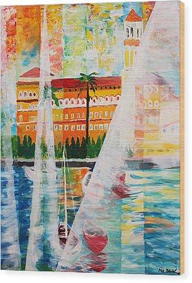 Grand Hotel  In Gardone Riviera In Sunlight Wood Print by M Bleichner