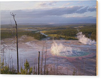 Wood Print featuring the photograph Grand Prismatic At Dusk by Jon Emery