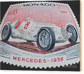 Grand Prix De Monaco 1936 Vintage Postage Stamp Print Wood Print by Andy Prendy