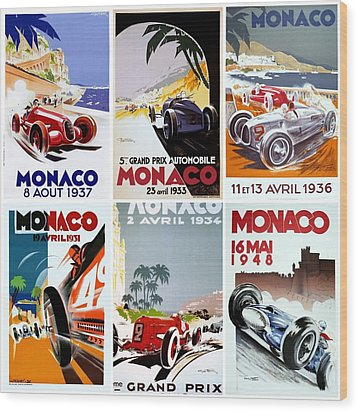 Grand Prix Of Monaco Vintage Poster Collage Wood Print by Don Struke