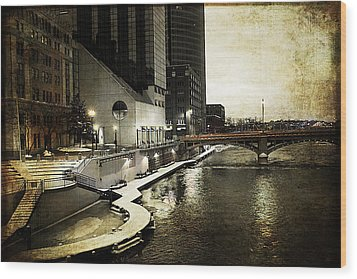 Grand Rapids Grand River Wood Print by Evie Carrier