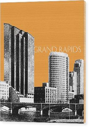 Grand Rapids Skyline - Orange Wood Print by DB Artist