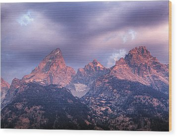 Wood Print featuring the photograph Grand Teton In Morning Clouds by Alan Vance Ley
