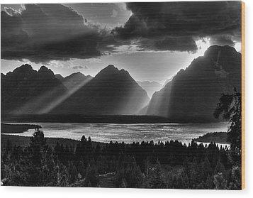Grand Teton Light Beams Wood Print