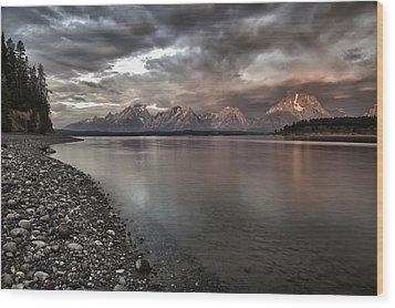 Grand Teton Mountain Range In  Grey And Pink Morning Sunlight Wood Print