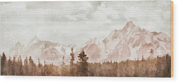 Grand Teton Mountains Wood Print by Greg Collins