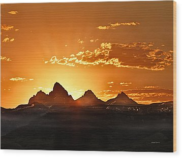 Grand Teton Sunrise Wood Print by Leland D Howard