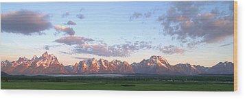 Grand Teton Sunrise Panorama Wood Print by Brian Harig