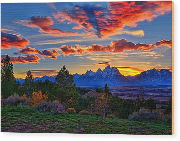 Grand Teton Sunset Wood Print by Greg Norrell