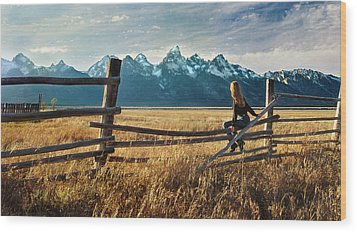 Grand Tetons And Girl On Fence Wood Print by June Jacobsen