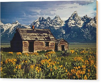 Wood Print featuring the photograph Grand Tetons Cabin by John Haldane
