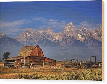 Grand Tetons From Moulton Barn Wood Print by Alan Vance Ley