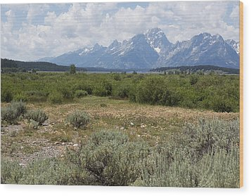 Grand Tetons From Willow Flats Wood Print by Belinda Greb
