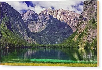 Grand Tetons National Park Painting Wood Print by Bob and Nadine Johnston