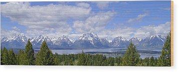 Grand Tetons Over Jackson Lake Panorama 2 Wood Print by Brian Harig