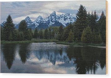 Grand Tetons Reflection Wood Print by Jack Nevitt