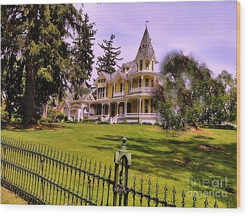 Wood Print featuring the photograph Grand Yellow Victorian And Gate by Becky Lupe