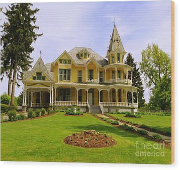 Wood Print featuring the photograph Grand Yellow Victorian by Becky Lupe
