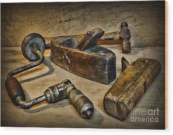 Grandfathers Tools Wood Print by Paul Ward
