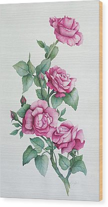 Wood Print featuring the painting Grandma Helen's Roses by Katherine Young-Beck