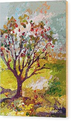 Grandmas Apple Tree Modern Art Wood Print by Ginette Callaway